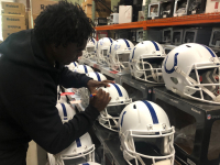 "Edgerrin James Signed Colts Matte White Full-Size Speed Helmet Inscribed ""Gold Grills & $ Bills"" (Radtke COA) at PristineAuction.com"