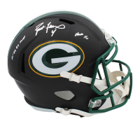 "Brett Favre Signed Green Bay Packers Matte Black Full-Size Speed Helmet Inscribed ""95, 96, 97 MVP"" & ""HOF 16"" (Radtke COA) at PristineAuction.com"
