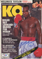 Sugar Ray Leonard Signed 1990 Knockout Boxing Magazine Cover Page (PSA COA) at PristineAuction.com