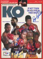 1992 Knockout Boxing Magazine Cover Page Signed by (5) with Razor Ruddock, Lennox Lewis, Ray Mercer, Riddick Bowe & Michael Moorer (PSA COA) at PristineAuction.com