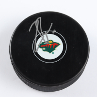 Zach Parise Signed Wild Logo Hockey Puck (Beckett COA) at PristineAuction.com