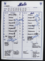 Mets Batting Order Lineup Card Signed by (7) with Greg Golson, Lou Marson, Carlos Carrasco, Daniel Murphy (JSA Hologram) (See Description) at PristineAuction.com
