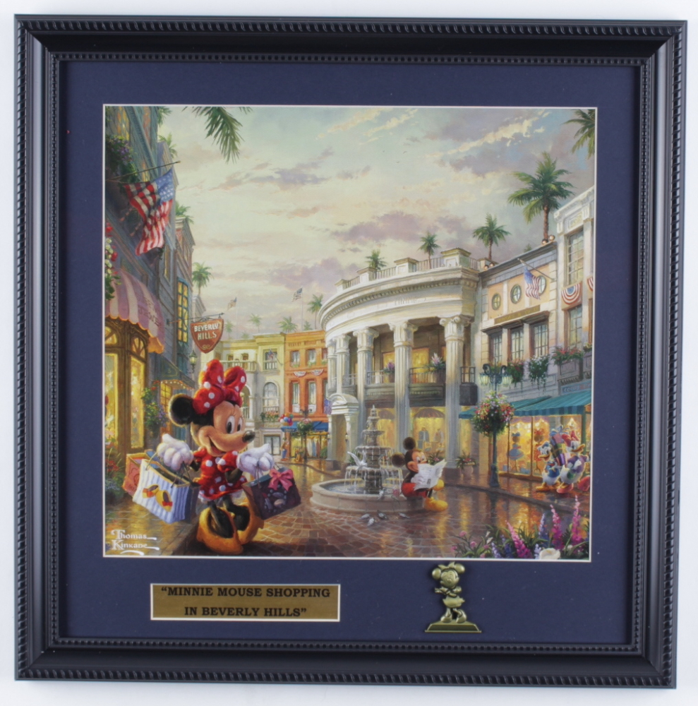 "Thomas Kinkade ""Minnie Mouse Shopping in Beverly Hills"" 16x16 Custom Framed Print Display with Minnie Mouse Pin at PristineAuction.com"