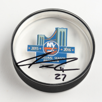 Anders Lee Signed Islanders Logo Acrylic Hockey Puck (Lee COA) at PristineAuction.com