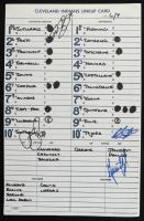 Indians Batting Order Lineup Card Signed by (4) with Franklin Gutierrez, Jeremy Guthrie, Rob Tejeda (JSA Hologram) (See Description) at PristineAuction.com
