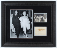 "Joe DiMaggio & Marilyn Monroe Signed 22x26 Custom Framed Signed Cut Display Inscribed ""Best Wishes From"" (JSA LOA) at PristineAuction.com"
