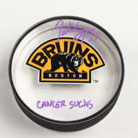 "Patrice Bergeron Signed Bruins Logo Acrylic Hockey Puck Inscribed ""Cancer Sucks"" (Bergeron COA) at PristineAuction.com"