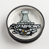 Brian Dumoulin Signed Penguins 2016 Stanley Cup Champions Logo Acrylic Hockey Puck (Dumoulin COA) at PristineAuction.com
