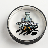 Brandon Saad Signed 2015 Stanley Cup Champions Logo Acrylic Hockey Puck (Saad COA) at PristineAuction.com