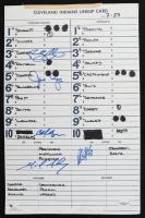 Indians Batting Order Lineup Card Signed by (5) with Jason Cooper, Ryan Garko (JSA Hologram) (See Description) at PristineAuction.com