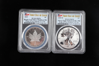2019 Pride of Two Nations Set With $1 American Silver Eagle -W (PCGS Enhanced Rev PR70) & $5 Canadian Silver Maple Leaf (PCGS Modified PR70) at PristineAuction.com