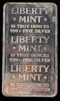 10 Troy Oz .999 Fine Silver Liberty Mint Bullion Bar at PristineAuction.com