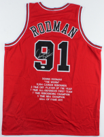Dennis Rodman Signed Career Highlight Stat Jersey (JSA COA) at PristineAuction.com