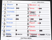 Carlos Carrasco Signed Batting Order Lineup Card (JSA COA) (See Description) at PristineAuction.com