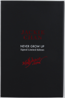 """Jackie Chan Signed LE """"Never Grow Up"""" Hardcover Book Inscribed """"Best Wishes"""" & """"Enjoy"""" (Premiere Collectibles COA) at PristineAuction.com"""