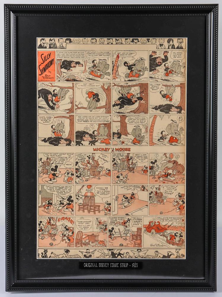 "1935 Original Disney ""Mickey Mouse"" Comic Strip 20x27 Custom Framed Display at PristineAuction.com"