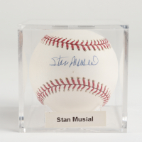 Stan Musial Signed OML Baseball with Display Case (PSA COA, Steiner Hologram & MLB Hologram) at PristineAuction.com