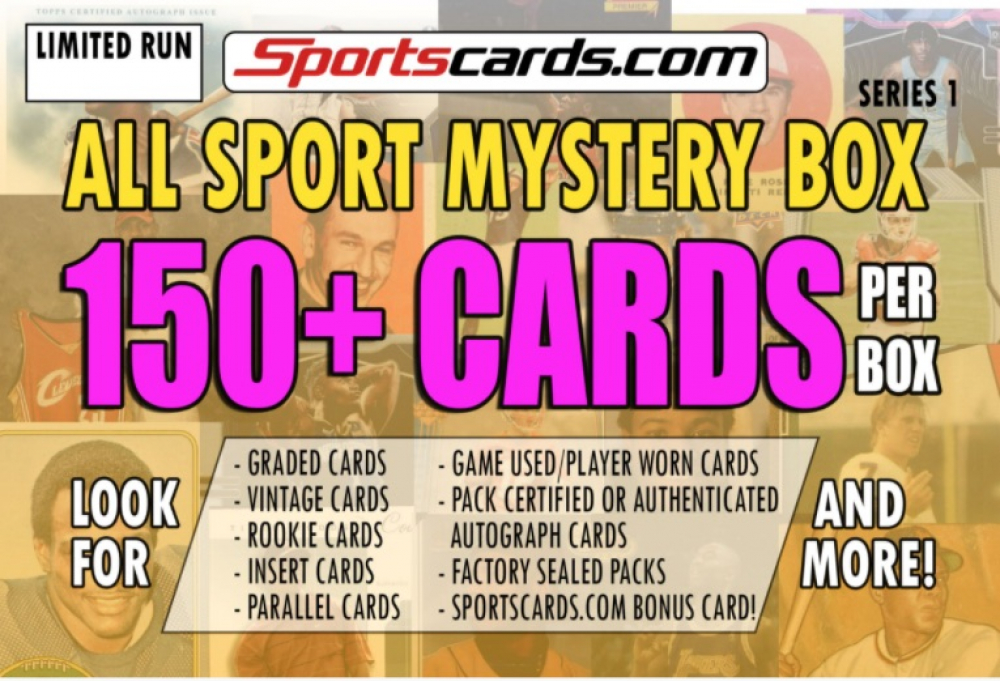 """Sportscards.com """"ALL SPORTS MYSTERY BOX"""" 150+ CARDS PER BOX! – SERIES 1 at PristineAuction.com"""