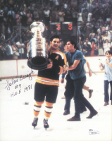 """Johnny Bucyk Signed Bruins 7x9 Photo Inscribed """"H.O.F. 1981"""" (JSA COA) at PristineAuction.com"""