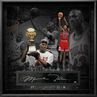 Michael Jordan Signed LE Bulls 36x36 Custom Framed Game-Used Floor Piece Display (UDA COA) at PristineAuction.com
