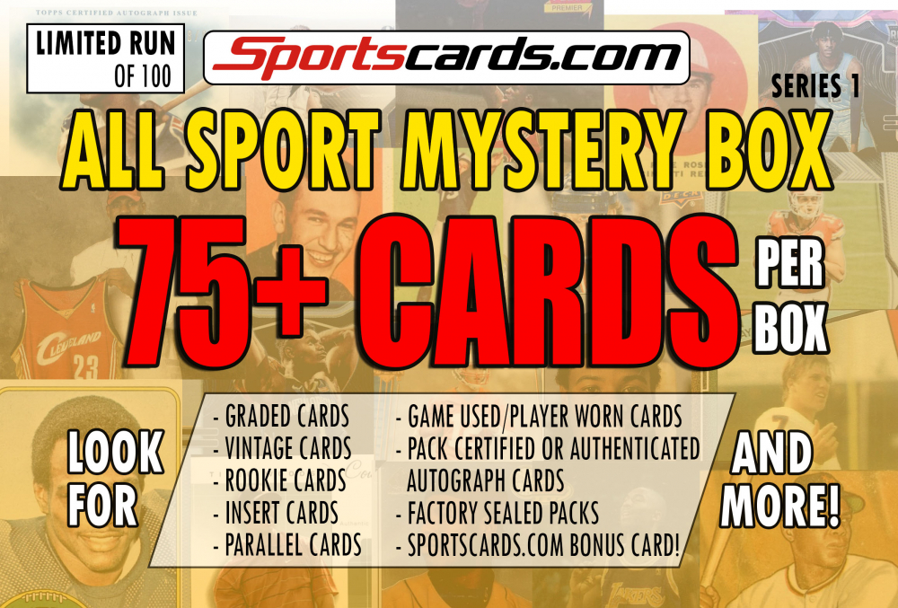"""ALL SPORTS MYSTERY BOX"" 75+ CARDS PER BOX! – SERIES 1 at PristineAuction.com"