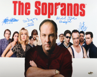 """""""The Sopranos"""" 16x20 Photo Cast-Signed by (4) With Michael Imperioli, Vincent Pastore, Al Sapienza & Federico Castelluccio with (4) Character Inscriptions (MAB Hologram) at PristineAuction.com"""