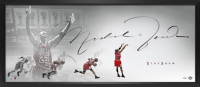 "Michael Jordan Signed Bulls ""The Show"" 20x46 Custom Framed Lithograph (UDA COA) at PristineAuction.com"
