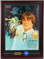 Original 1977 Star Wars Coca Cola Promo 22x30 Custom Framed Poster Display with Original 1977 May The Force Be With You Pin (See Description) at PristineAuction.com