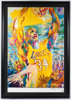 """LeRoy Neiman Signed Lakers """"Shaquille O'Neal"""" 25x35 Custom Framed Original Lithograph Display (PSA COA) at PristineAuction.com"""