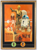 Original 1977 Star Wars Coca Cola Promo 22x30 Custom Framed Poster Display with R2-D2 & C-3PO Pins at PristineAuction.com