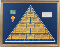 "John Wooden Signed ""The Pyramid of Success"" 21.75x28 Custom Framed Cut Display Inscribed ""Thanks For Your Interest"" & ""UCLA"" with Vintage UCLA Pin & 1973 Game Ticket Stub (PSA COA) COA) at PristineAuction.com"