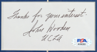"""John Wooden Signed """"The Pyramid of Success"""" 21.75x28 Custom Framed Cut Display Inscribed """"Thanks For Your Interest"""" & """"UCLA"""" with Vintage UCLA Pin & 1973 Game Ticket Stub (PSA COA) COA) at PristineAuction.com"""