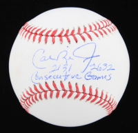 "Cal Ripken Jr. Signed OML Baseball Inscribed ""2131"" & ""2632 Consecutive Games"" (JSA COA) at PristineAuction.com"