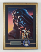 """1977 """"The Empire Strikes Back"""" 15x20 Custom Framed Ralph McQuarrie Pre-Production Art Print Display with Original 1977 Darth Vader Lapel Pin at PristineAuction.com"""