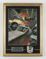 "Ralph McQuarrie ""Star Wars: Return of the Jedi"" 15x20 Custom Framed Pre Production Art Print Display with Original 1977 Luke Skywalker Lapel Pin at PristineAuction.com"