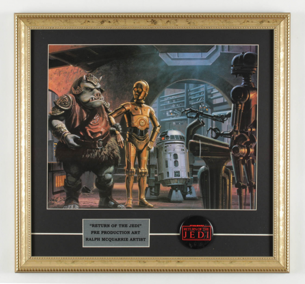 """Ralph McQuarrie """"Star Wars: Return of the Jedi"""" 17x18 Custom Framed Pre Production Art Print Display with Original Movie Pin at PristineAuction.com"""