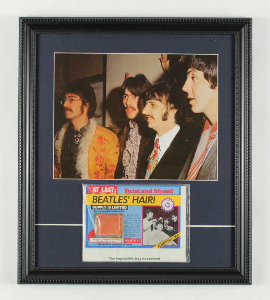 """""""The Beatles"""" 15x17 Custom Framed Photo Display with Beatles Vintage Hair in Original Sealed Package at PristineAuction.com"""
