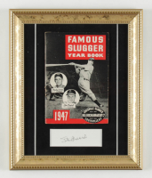 Stan Musial Signed Cardinals 10x12 Custom Framed Cut Display with 1947 Louisville Slugger Year Book (PSA COA) at PristineAuction.com