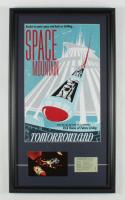 "Disneyland ""Space Mountain"" 15x26 Custom Framed Print Display with Vintage ""E"" Ticket & Souvenir Postcard at PristineAuction.com"
