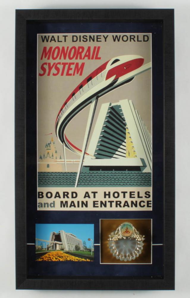 "Walt Disney World ""Monorail"" 14.5x25.5 Custom Framed Shadowbox Display with Vintage Ash Tray & Souvenir Postcard at PristineAuction.com"