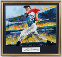 """LeRoy Neiman Signed """"Joe DiMaggio"""" 23x25 Custom Framed Cut Display with Vintage Lithograph (PSA COA) at PristineAuction.com"""