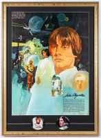 Star Wars 22x30 Custom Framed 1977 Original Coca Cola Promotion Poster Display with Set of (2) Original 1977 Character Lapel Pins at PristineAuction.com