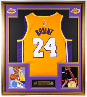 Kobe Bryant 32x36 Custom Framed Jersey Display with (2) NBA Finals Pins at PristineAuction.com