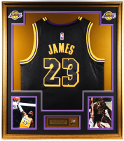 LeBron James 33x36 Custom Framed Jersey Display With 2020 Lakers World Champions Pin at PristineAuction.com