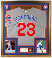 Ryne Sandberg Signed Cubs 32x36 Custom Framed Cut Display with HOF Pin (PSA COA) at PristineAuction.com