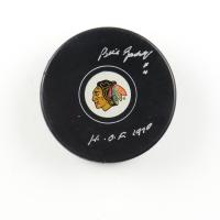 "Bill Gadsby Signed Blackhawks Logo Hockey Puck Inscribed ""H.O.F. 1970"" (COJO COA) at PristineAuction.com"