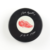 """Bill Gadsby Signed Red Wings Logo Hockey Puck Inscribed """"H.O.F. 1970"""" (COJO COA) at PristineAuction.com"""