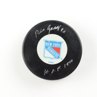 "Bill Gadsby Signed Rangers Logo Hockey Puck Inscribed ""H.O.F. 1970"" (COJO COA) at PristineAuction.com"