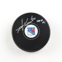 "Mike Gartner Signed Rangers Logo Hockey Puck Inscribed ""HOF 01"" (COJO COA) at PristineAuction.com"