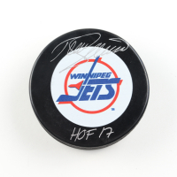 "Teemu Selanne Signed Jets Logo Hockey Puck Inscribed ""HOF 17"" (COJO COA) at PristineAuction.com"